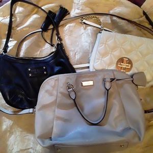 Kate spade 3 bags,cream ,blk.mini bag.white sm.